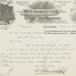 Wm. G. Scarlett & Co.. Letter