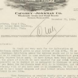 Caughey-Jossman Co.. Letter