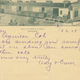 G. E. Ady & Co.. Letter