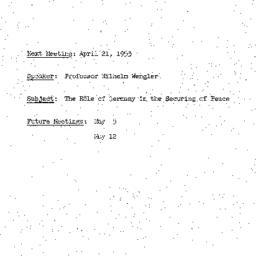 Announcements, 1953-04-21. ...