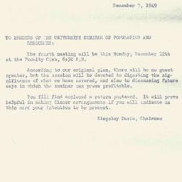 Announcements, 1949-12-07. ...