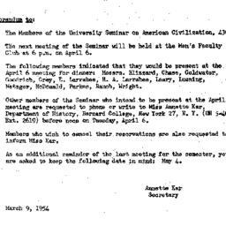 Announcements, 1954-03-09. ...