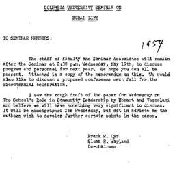 Announcements, 1954-05-10. ...