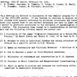 Minutes, 1954-02-10. The St...