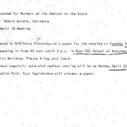 Announcements, 1973-04-10. ...