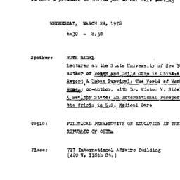 Announcements, 1978-03-29. ...