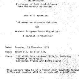 Announcements, 1979-11-13. ...