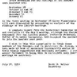 Announcements, 1954-09-28. ...