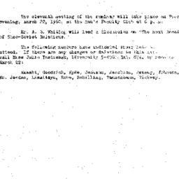 Announcements, 1960-03-08. ...