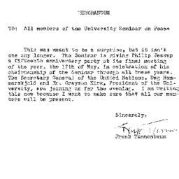 Announcements, 1960-05-17. ...