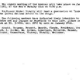 Announcements, 1961-01-19. ...