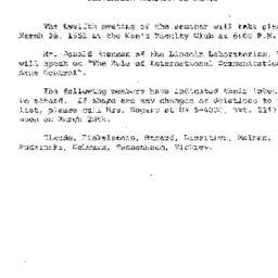 Announcements, 1961-03-22. ...