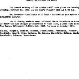 Announcements, 1960-10-12. ...