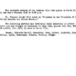 Announcements, 1962-03-13. ...