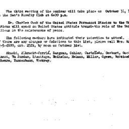 Announcements, 1961-10-17. ...