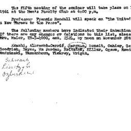 Announcements, 1961-11-14. ...
