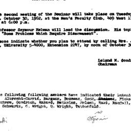 Announcements, 1962-10-30. ...
