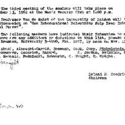 Announcements, 1962-11-08. ...