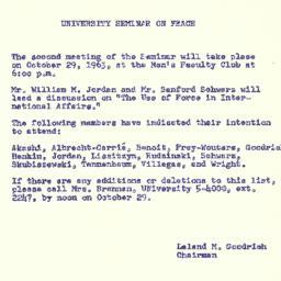 Announcements, 1963-10-22. ...