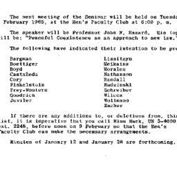 Announcements, 1965-02-09. ...
