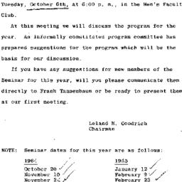Announcements, 1964-10-06. ...