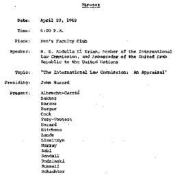 Minutes, 1969-04-29. The Pr...
