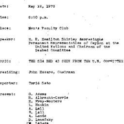 Minutes, 1970-03-12. The Pr...