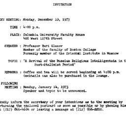 Announcements, 1973-12-10. ...