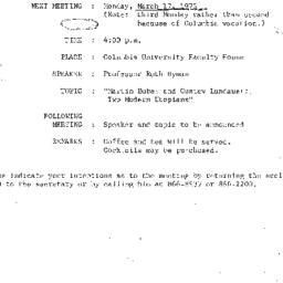 Announcements, 1975-03-17. ...