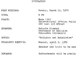 Announcements, 1979-03-12. ...
