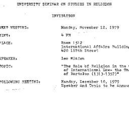 Announcements, 1979-11-12. ...