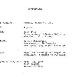 Announcements, 1981-03-09. ...
