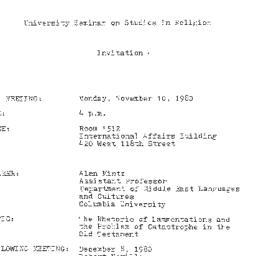 Announcements, 1980-11-10. ...