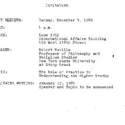 Announcements, 1980-12-08. ...