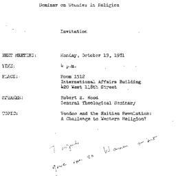 Announcements, 1981-10-19. ...