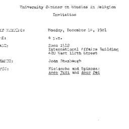 Announcements, 1981-12-14. ...