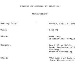 Announcements, 1984-04-09. ...