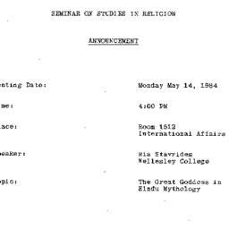 Announcements, 1984-05-14. ...