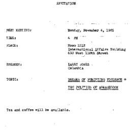 Announcements, 1985-11-04. ...