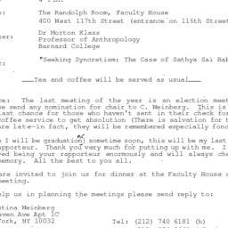 Announcements, 1996-05-06. ...