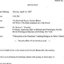 Announcements, 1997-04-14. ...