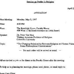 Announcements, 1997-05-05. ...