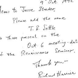 Correspondence, 1992-10-09....