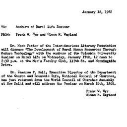 Announcements, 1962-01-12. ...