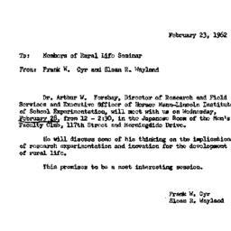 Announcements, 1962-02-23. ...