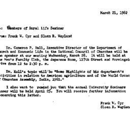 Announcements, 1962-03-21. ...