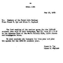 Announcements, 1962-05-16. ...
