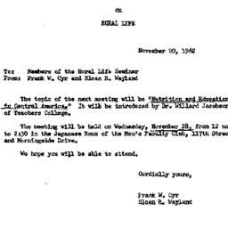 Announcements, 1962-11-20. ...