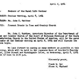 Announcements, 1964-04-02. ...