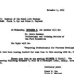 Announcements, 1963-11-01. ...